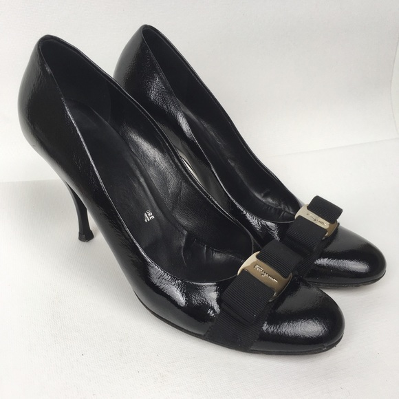 Salvatore Ferragamo Shoes - SALVATORE FERRAGAMO Sz 8.5 Black Patent Leather